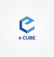 simple blue e cube logo symbol vector image vector image