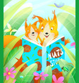 squirrel mother reading book to her baby in forest vector image