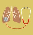 stethoscope checking on lung vector image vector image
