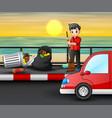 teenager sweeping road near beach vector image vector image