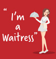 waitress character with tray on red background vector image vector image