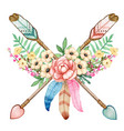 watercolor boho floral indian arrows wild and free vector image