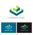 cube box 3d business logo vector image