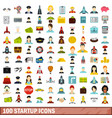 100 startup icons set flat style vector image vector image