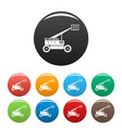 basket lift truck icons set color vector image vector image