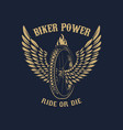 biker power winged wheel on dark background vector image