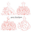 bridal wedding dress boutique logo design set vector image
