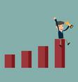 business man success sitting on growth graph vector image