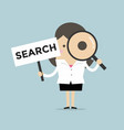 businesswoman look magnify glass with search sign vector image