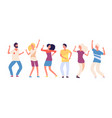 cartoon dancing people happy young persons dance vector image vector image