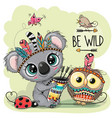 cartoon tribal koala and owl with feathers vector image vector image
