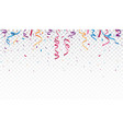 celebration with colorful ribbon and confetti vector image vector image
