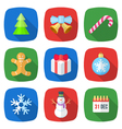 christmas flat style colored icons vector image