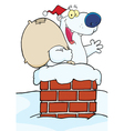 Christmas Santa Polar Bear In A Chimney vector image vector image