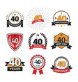 collection retro 40 th years anniversary logo vector image vector image
