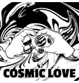 Cosmic love hand drawn of human hands with