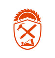 crossed hammer and rasp tools crest retro vector image