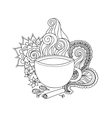 Cup of masala tea and flavoring ethnic pattern vector image
