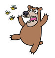 cute bear in panic angry bees vector image