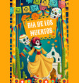 day dead catrina calavera woman and paper flags vector image vector image