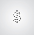 dollar outline symbol dark on white background vector image vector image
