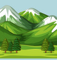 empty green nature scene with big mountains vector image