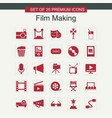 film making icons set red vector image