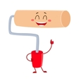 Funny paint roller tool character smiling and vector image vector image