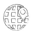 global sphere and gps mark design vector image vector image