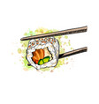 gunkan sushi with salmon and cucumber from a vector image vector image