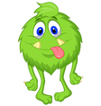 Hairy green monster cartoon vector image