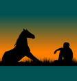 horse and man silhouettes sitting on grass at vector image vector image