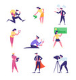 male and female business people run with huge bulb vector image vector image