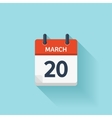 March 20 flat daily calendar icon Date vector image vector image