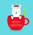 merry christmas llama alpaca sitting in red vector image vector image
