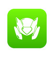 motorcycle helmet design icon green vector image vector image