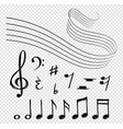 musical notes black music lines melody elements vector image