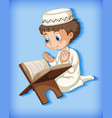 muslim boy reading from quran vector image