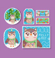 owl with scarf happy merry christmas tags vector image