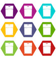 package icon set color hexahedron vector image vector image