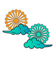 pair of clouds with flowers vector image vector image