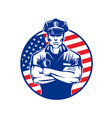 policeman in uniform wearing a cap vector image vector image