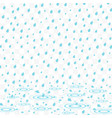 rain with water splashes water drops vector image