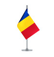 romanian flag hanging on the metallic pole vector image vector image