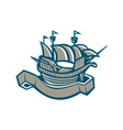 sailing ship galleon scroll vector image vector image