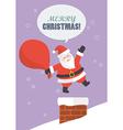 santa claus with big bag jumping in chimney vector image vector image