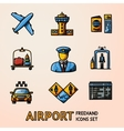 set hand drawn airport icons with - airplane vector image