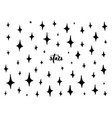 set of black hand drawn stars vector image