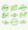 set of organic local farm farm fresh vector image