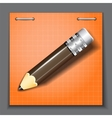 Small pencil on the orange paper sheet background vector image vector image